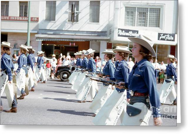 Vintage View Of A High School Marching Band Marching Up Congress Avenue During Austin Parade Greeting Card by Herronstock Prints