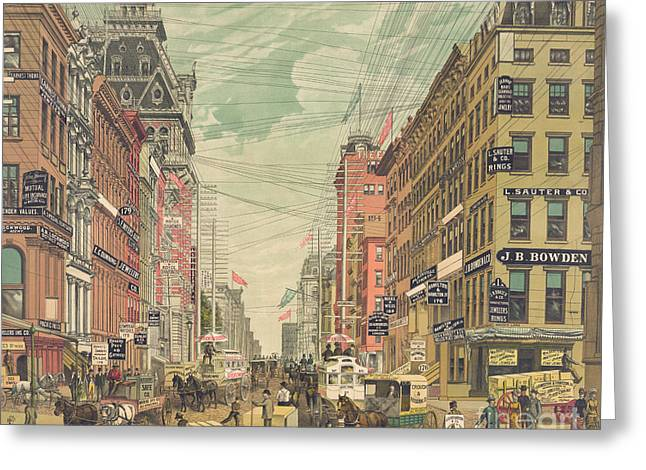 Vintage View Of Broadway In New York City, Circa 1880 Greeting Card