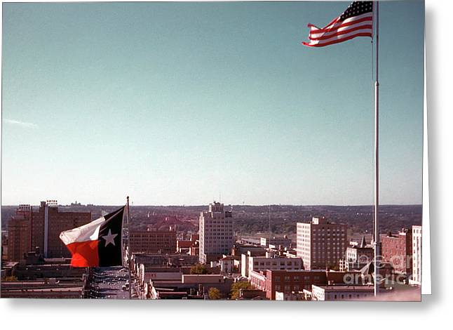 Vintage View Of The Texas And Usa Flags Flying On Top Of Texas State Capitol Greeting Card by Herronstock Prints