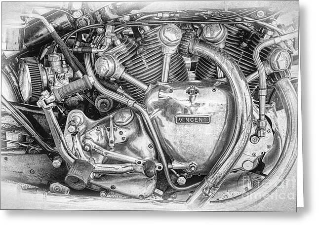 Vintage Vincent Engine Greeting Card by Tim Gainey