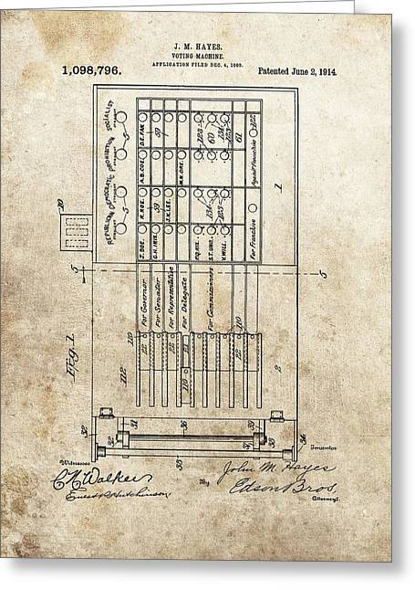 Vintage Voting Machine Patent Greeting Card by Dan Sproul