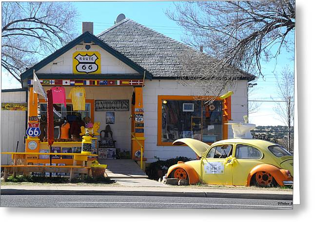 Vintage Vw Beetle At Seligman Antiques, Historic Route 66 Greeting Card