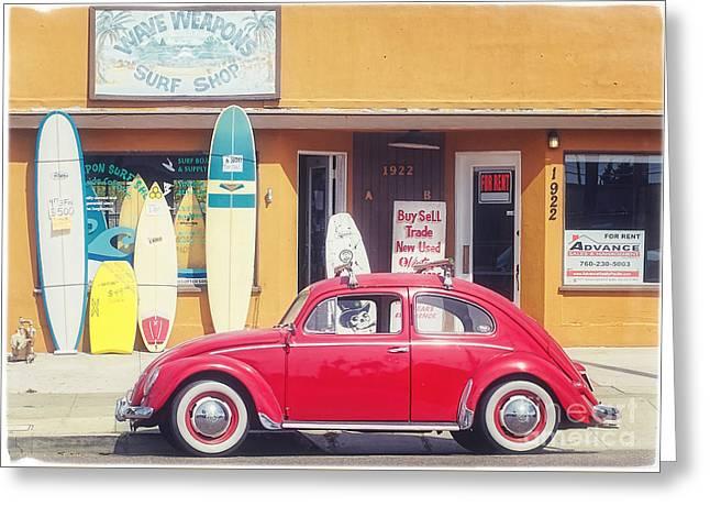 Vintage Vw Bug Surfer Car Greeting Card by Edward Fielding
