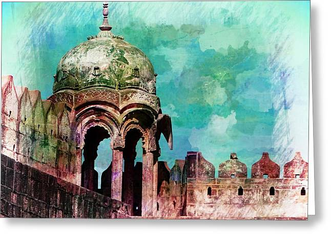 Vintage Watercolor Gazebo Ornate Palace Mehrangarh Fort India Rajasthan 2a Greeting Card