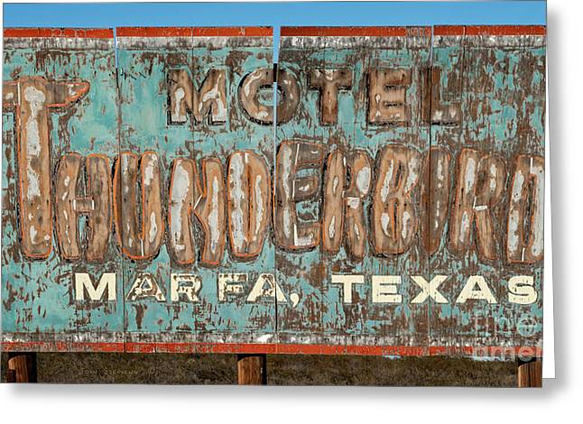 Vintage Weathered Thunderbird Motel Sign Marfa Texas Greeting Card by John Stephens