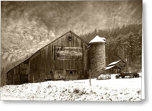 Vintage Weathered Winter Storm Barn Arbuckles Coffee Sign Greeting Card