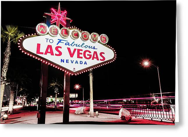 Vintage Welcome To Fabulous Las Vegas Neon Cityscape Greeting Card by Gregory Ballos