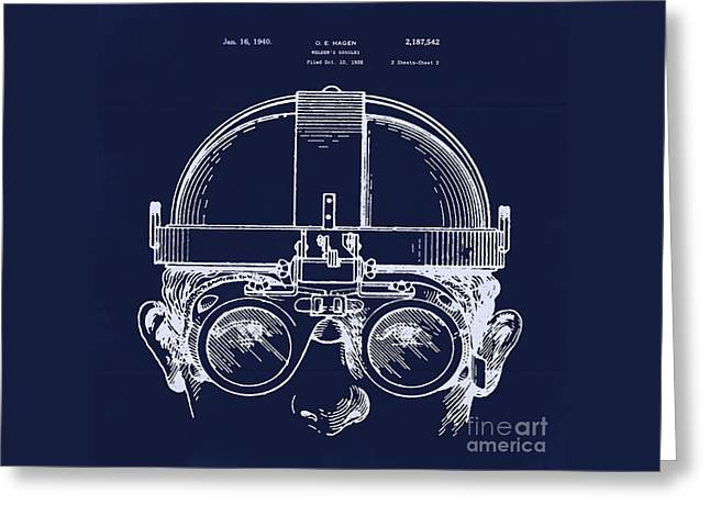 Vintage Welders Goggles Blueprint Detail Drawing Greeting Card by Tina Lavoie