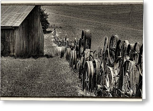 Vintage Wheel Fence Greeting Card by David Patterson