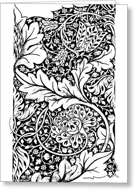 Vintage William Morris Textile Pattern Design Greeting Card