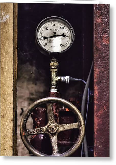 Vintage Wine Making Gauges  Greeting Card by Georgia Fowler
