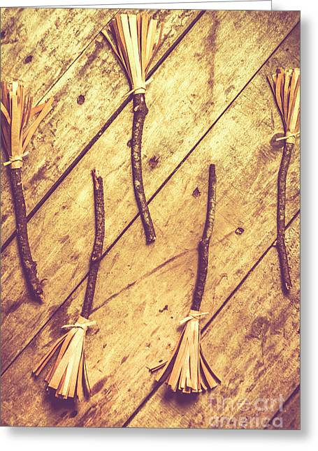 Vintage Witches Broomsticks Greeting Card by Jorgo Photography - Wall Art Gallery