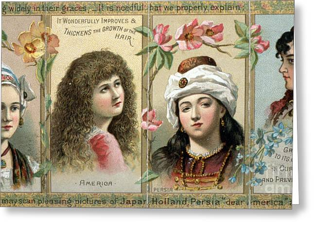 Vintage Women's Hair Tonic Product Label Greeting Card