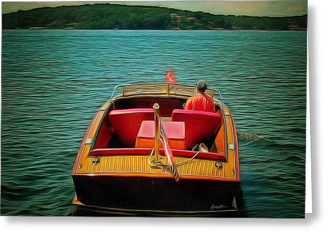 Vintage Wooden Boat Greeting Card by Anthony Caruso