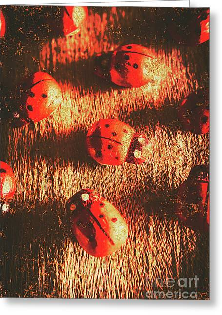 Vintage Wooden Ladybugs Greeting Card by Jorgo Photography - Wall Art Gallery