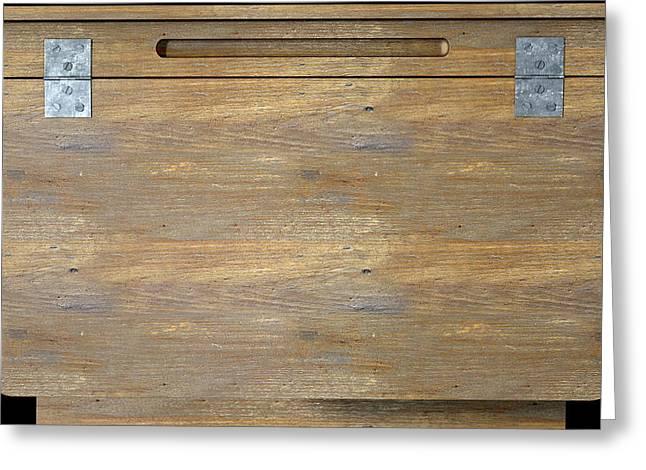 Vintage Wooden School Desk Closeup Greeting Card