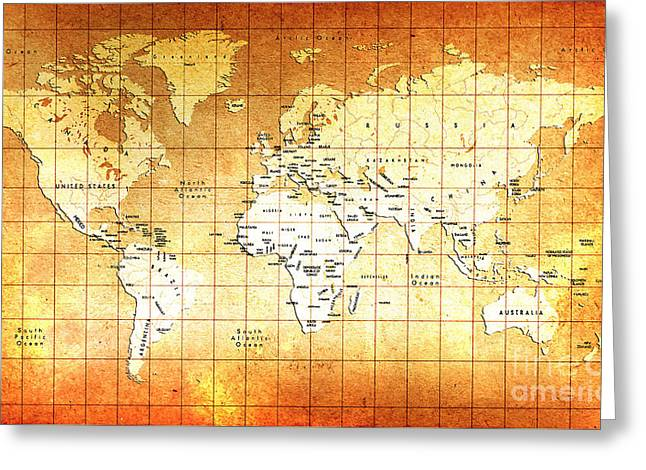 Vintage World Map  Greeting Card by Gull G