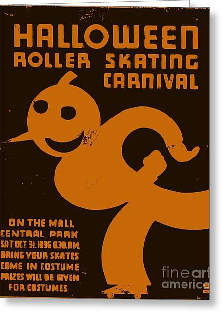 Vintage Wpa Halloween Roller Skating Carnival Poster Greeting Card