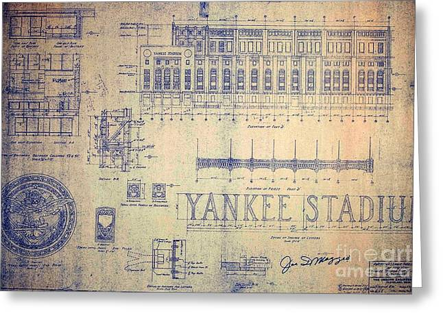Vintage Yankee Stadium Blueprint Signed By Joe Dimaggio Greeting Card