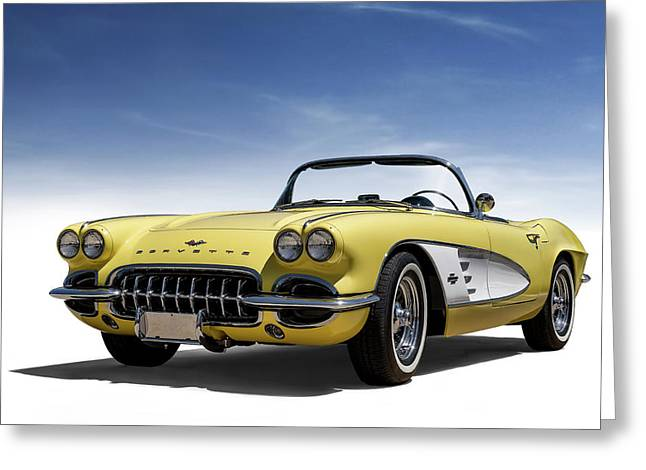 Vintage Yellow 'vette Greeting Card
