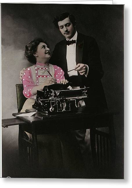 Vintage Young Man And Woman Using Greeting Card