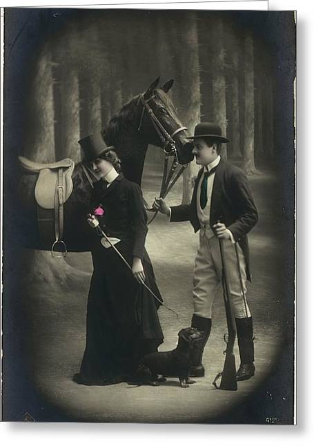 Vintage Young Woman And Man With Gun Greeting Card by Gillham Studios