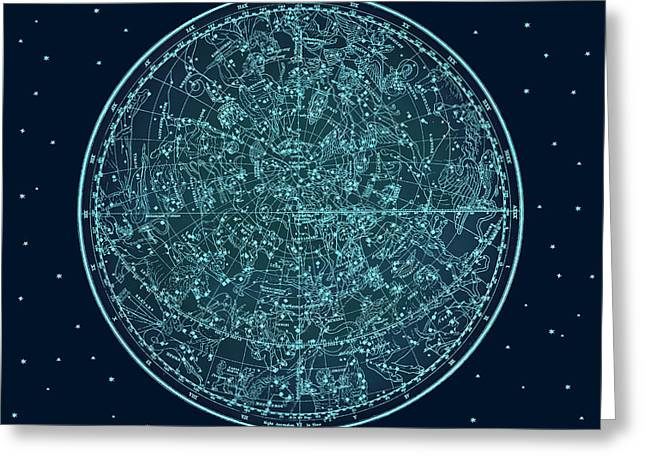 Vintage Zodiac Map - Teal Blue Greeting Card