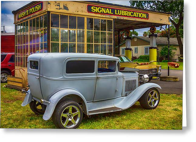 Vintiage Car At Old Gas Station Greeting Card by Garry Gay