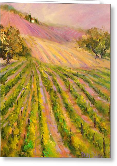 Vintners Delight Greeting Card by Sally Seago