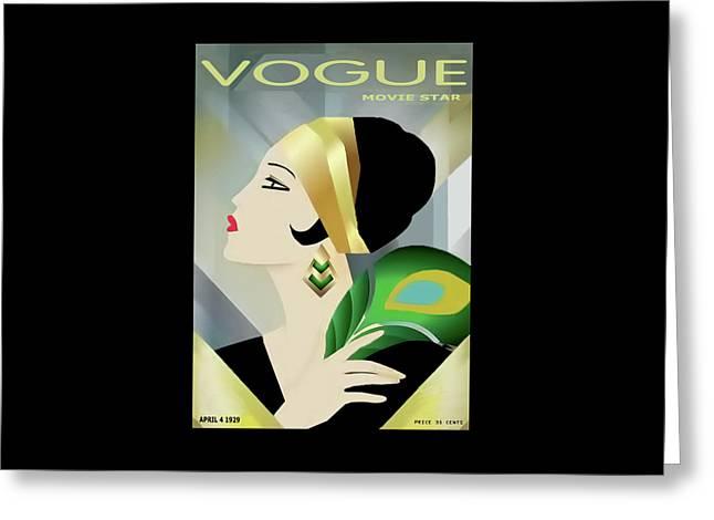 Vinttage Vogue Cover April 1929 Greeting Card