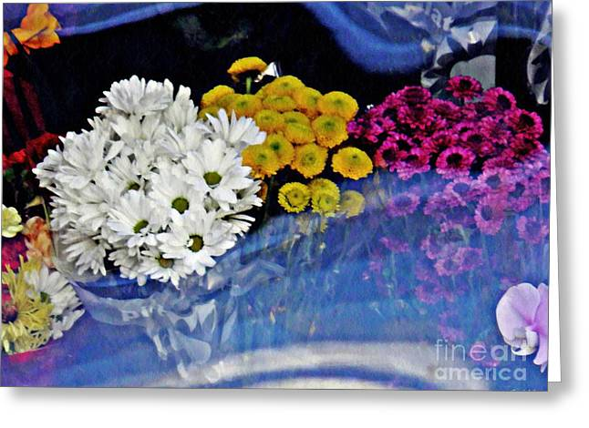 Vinyl Curtain And Flowers 1  Greeting Card