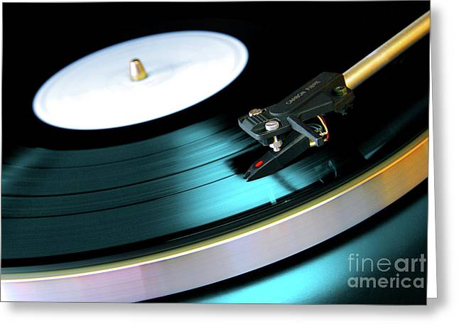 Background Greeting Cards - Vinyl Record Greeting Card by Carlos Caetano