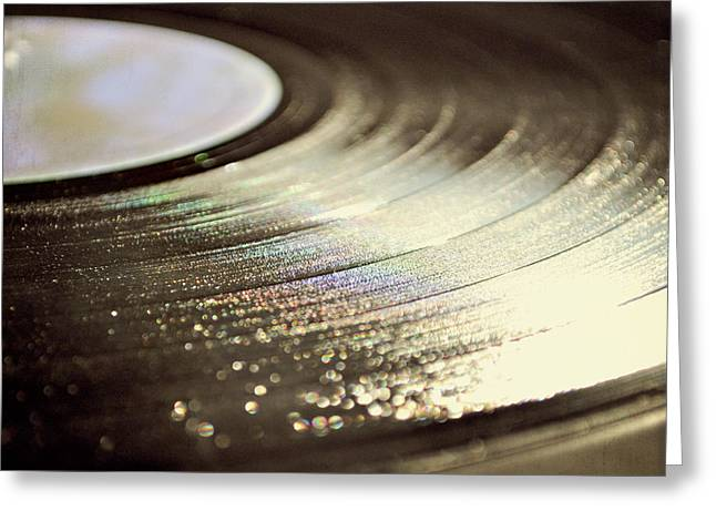 Vinyl Record Greeting Card by Lyn Randle