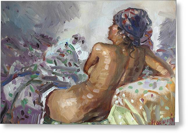 Nude In Violet Greeting Card by Ylli Haruni