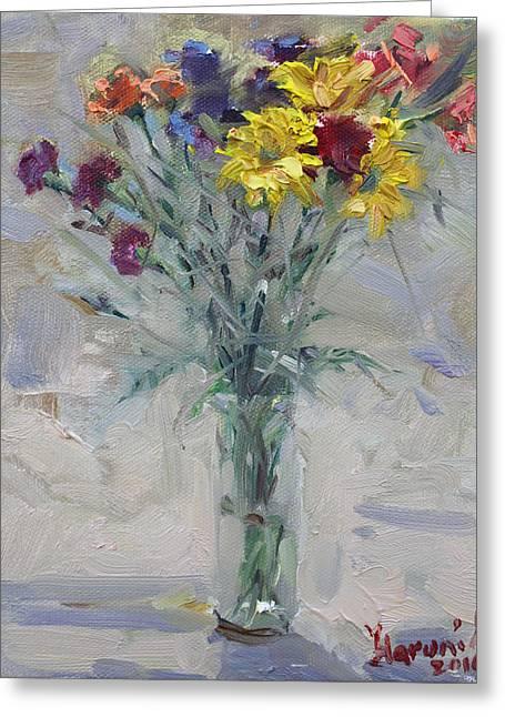 Viola's Flowers Greeting Card by Ylli Haruni