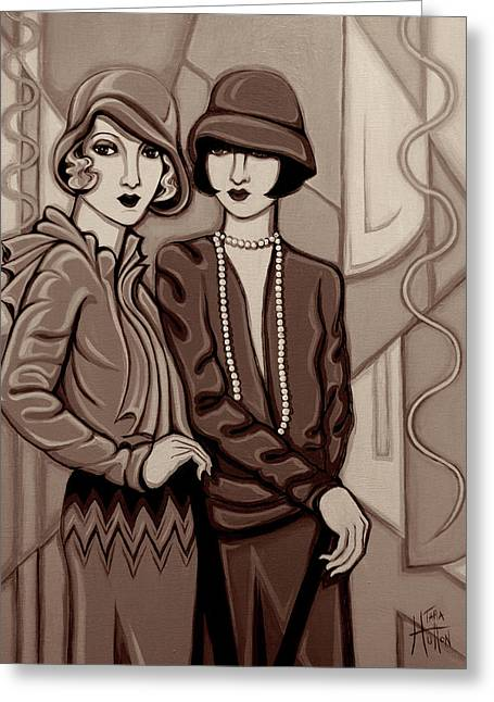 Violet And Rose In Sepia Tone Greeting Card by Tara Hutton