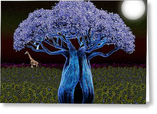 Greeting Card featuring the digital art Violet Blue Baobab by Iowan Stone-Flowers