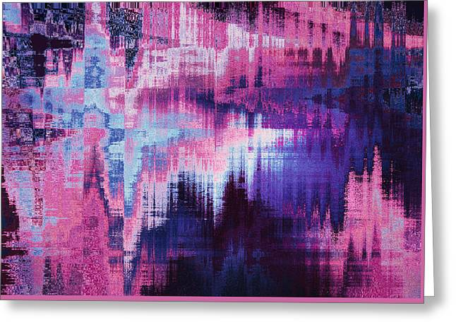 violet blurred abstract background texture with horizontal stripes. glitches, distortion on the screen broadcast digital TV satellite channels Greeting Card by Oksana Ariskina