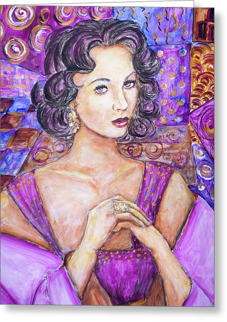 Liz Taylor Greeting Cards - Violet Eyes - liz Taylor Greeting Card by Nik Helbig