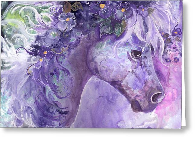 Violet Fantasy Greeting Card by Sherry Shipley