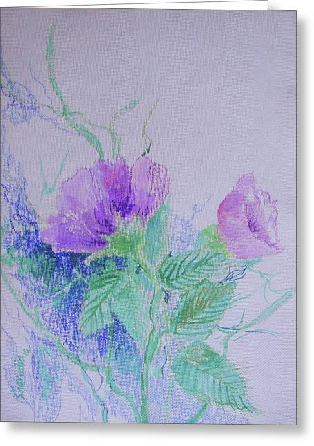 Violet Flowers Greeting Card by Sharmila L