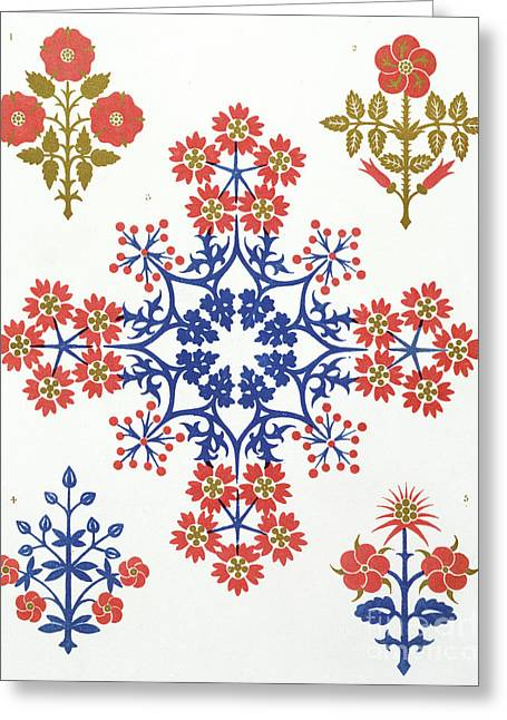 Violet, Iris And Tulip Motif Wallpaper Design Greeting Card by Augustus Welby Northmore Pugin