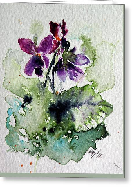 Greeting Card featuring the painting Violet Iv by Kovacs Anna Brigitta