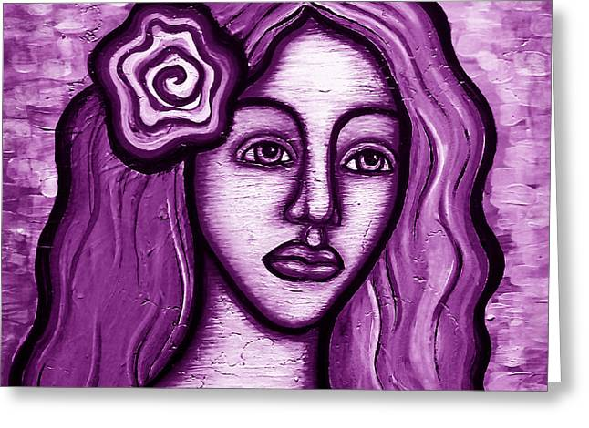 Violet Lady Greeting Card by Brenda Higginson