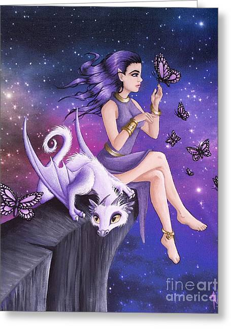 Violet Night Fantasy Greeting Card