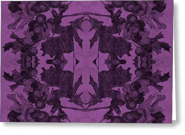Violet Oak Tree Pattern Greeting Card