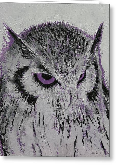 Violet Owl Greeting Card by Michael Creese