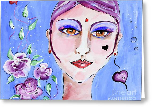 Violeta - Woman Face Art By Valentina Miletic Greeting Card by Valentina Miletic