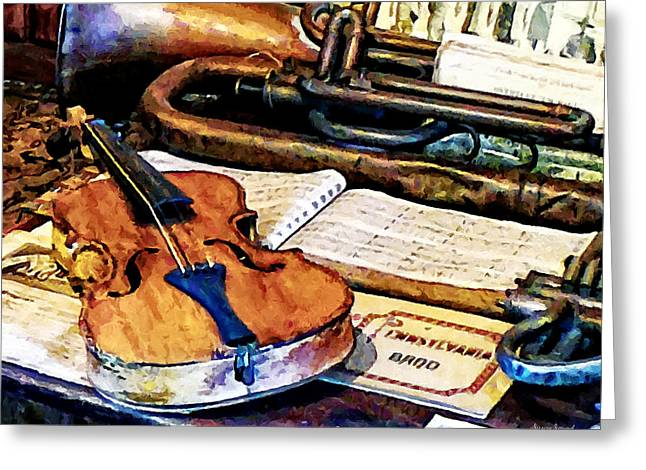 Violin And Bugle Greeting Card by Susan Savad