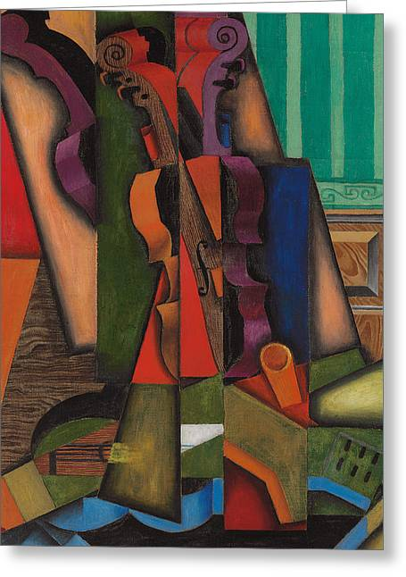 Violin And Guitar Greeting Card by Juan Gris